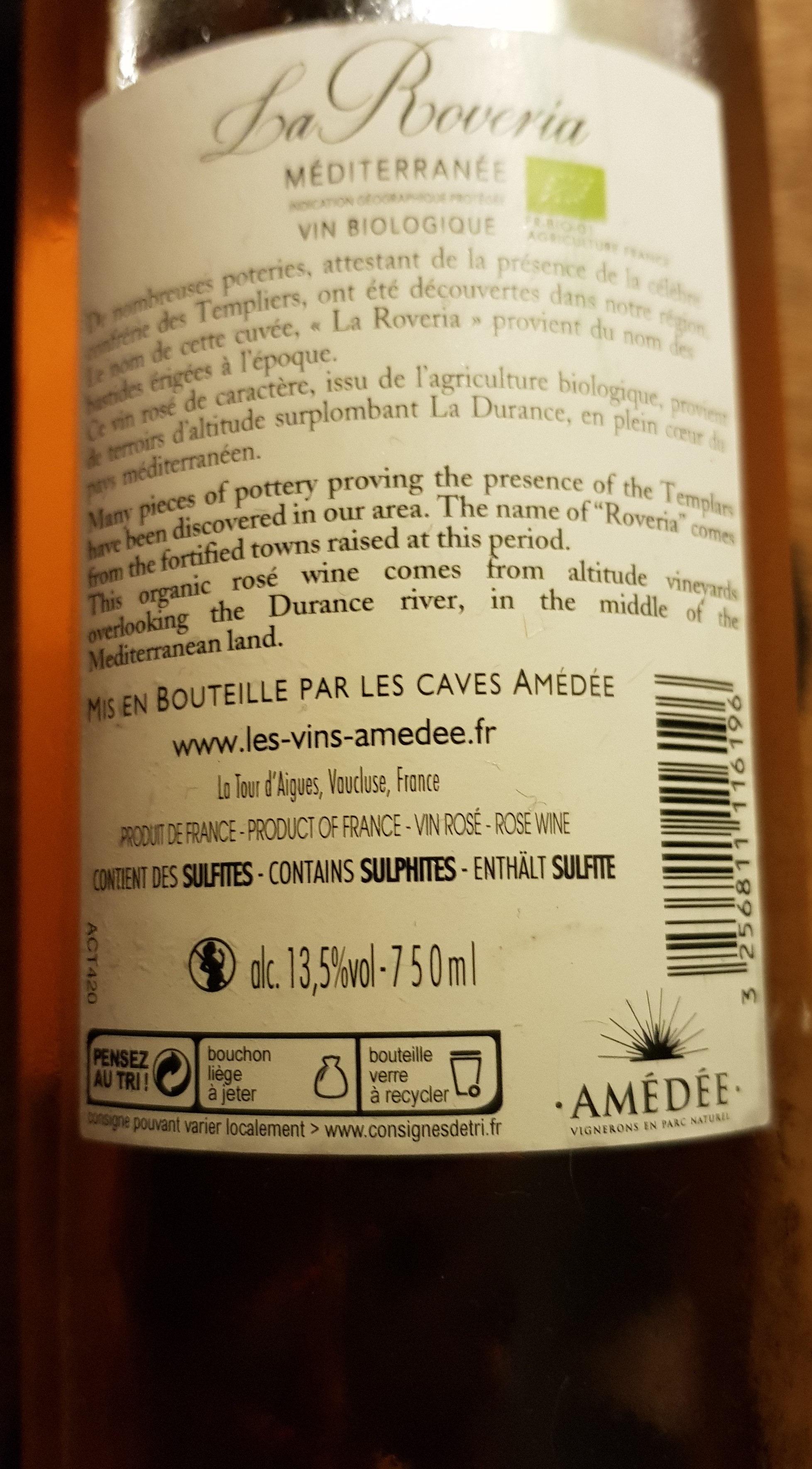 la roveria méditerranée  vin biologique - Ingredients