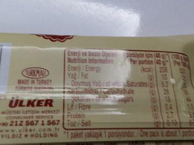 Ülker beyaz çikolatalı gofret - İçindekiler - en