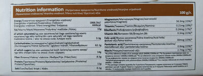 Granola muesli with nuts + magnesium + B complex - Nutrition facts