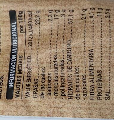 Palitos con frutos secos - Informació nutricional - es