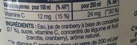 Cranberry - Ingrédients