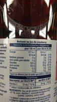Cranberry - Informations nutritionnelles