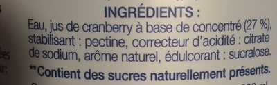 Cranberry Light - Ingredients