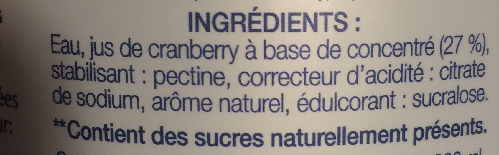 Cranberry Light - Ingrédients