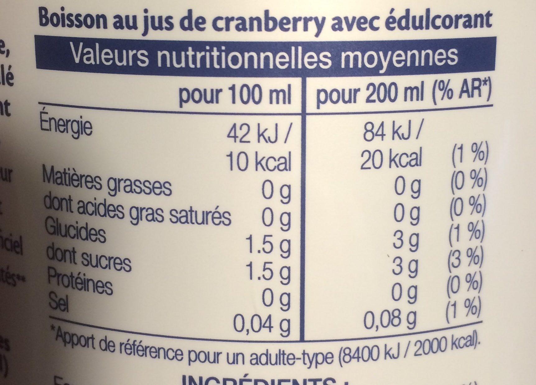 Cranberry Light - Informations nutritionnelles