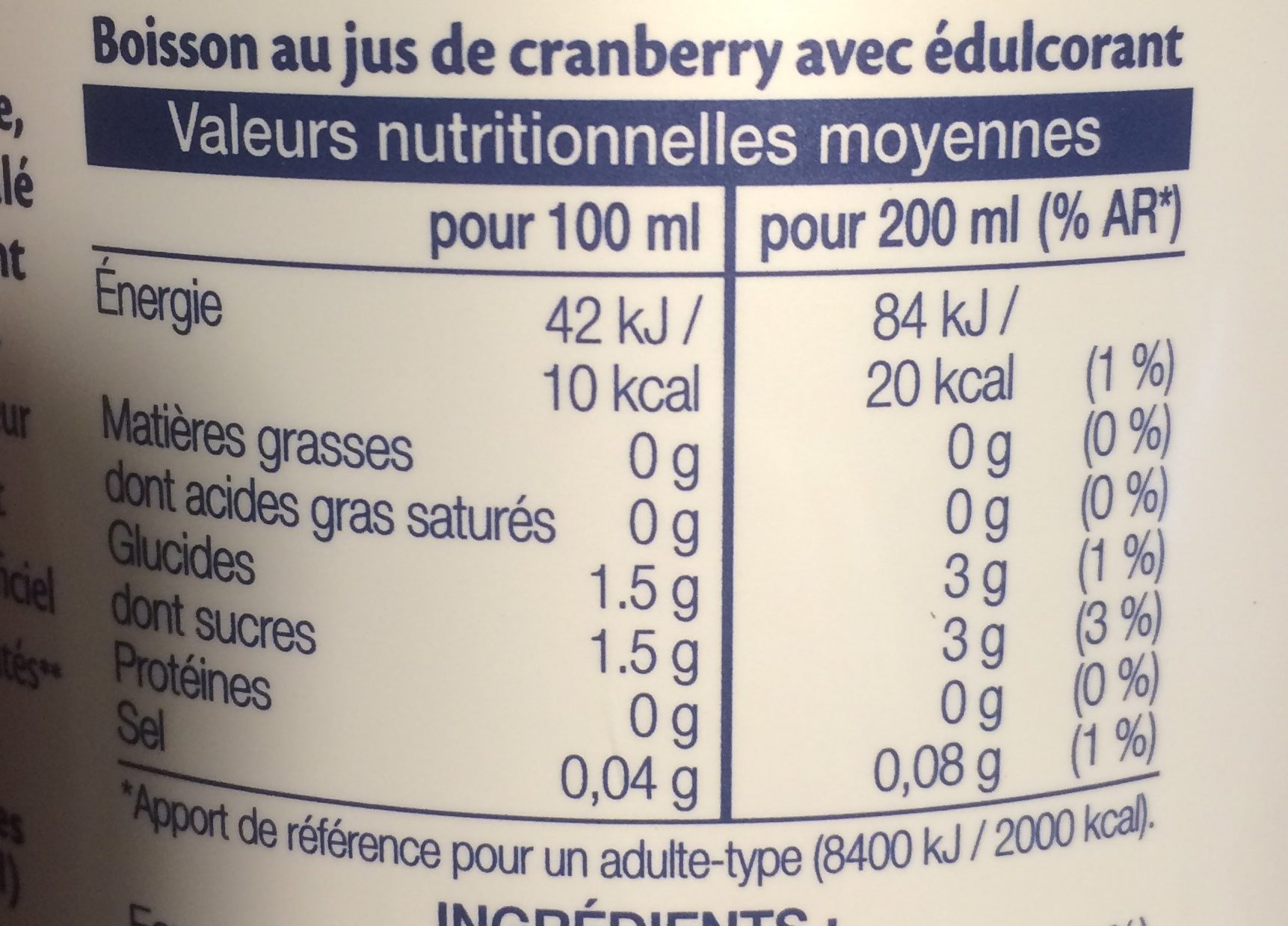 Cranberry Light - Voedingswaarden - fr