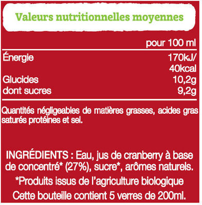 Ocean Spray Cranberry BIO - Ingredients - fr