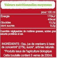 Ocean Spray Cranberry BIO - Nutrition facts - fr