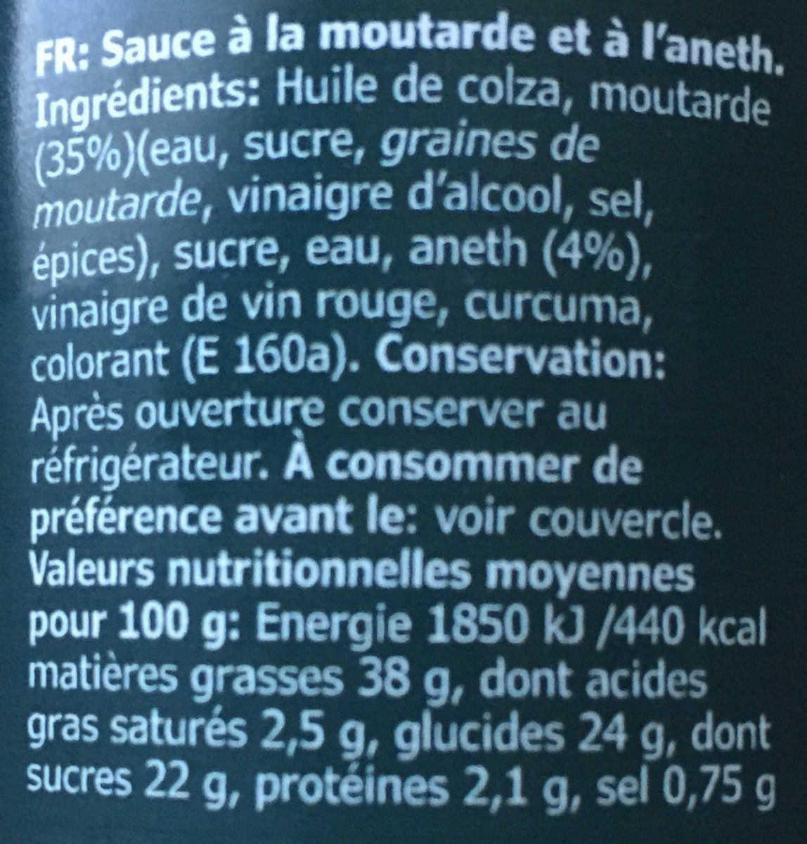 Sås senap & dill - Informazioni nutrizionali - fr