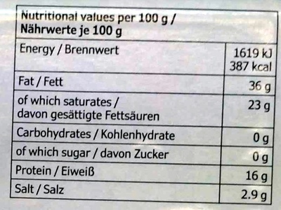 Ekologisk Ost Blåmögel (36% MG) - Nutrition facts