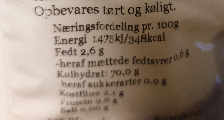 boghvedegryn - Informations nutritionnelles - da