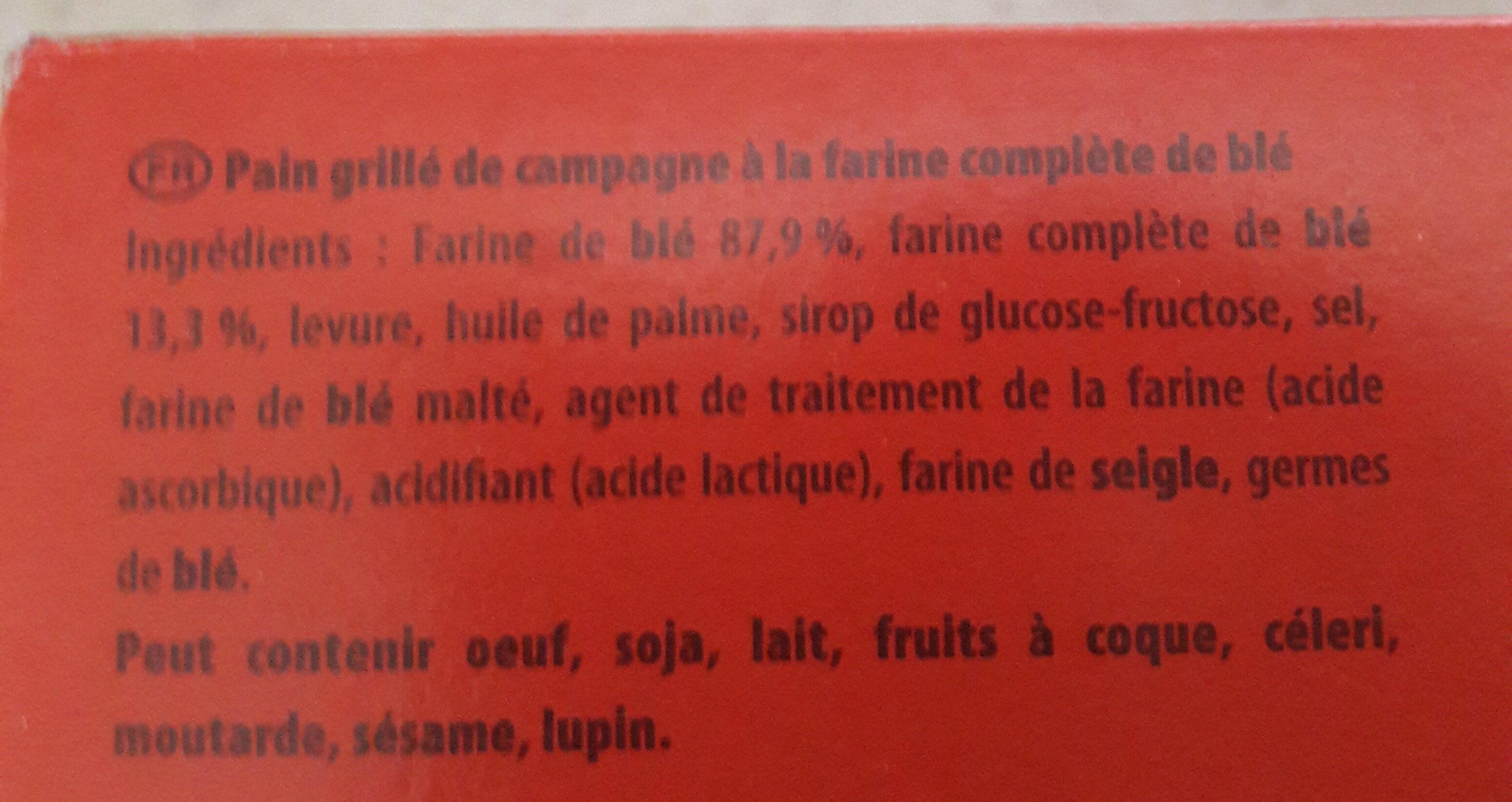 le pain grillé - Ingrédients - fr