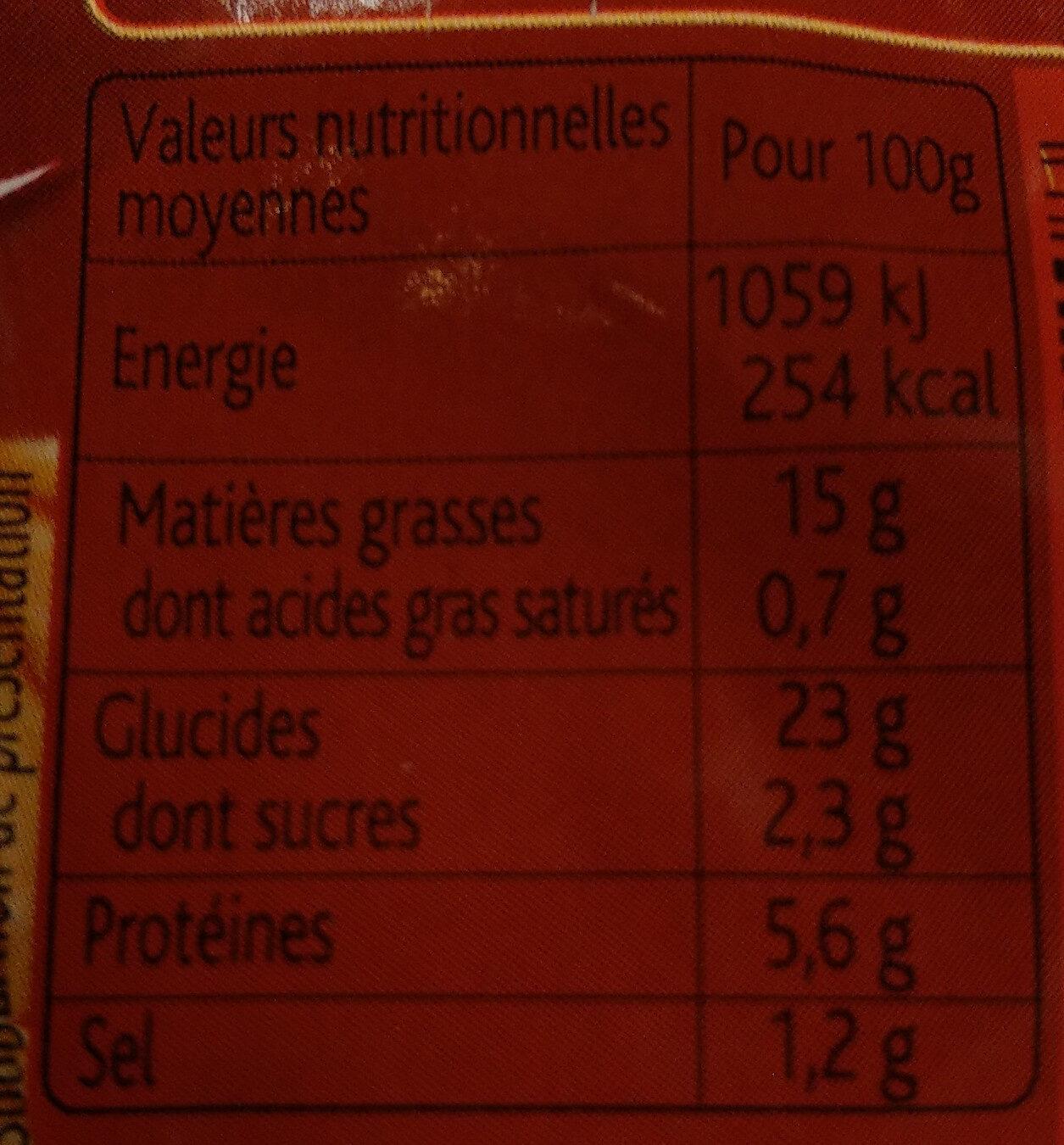 Bûchettes patissières - Informations nutritionnelles