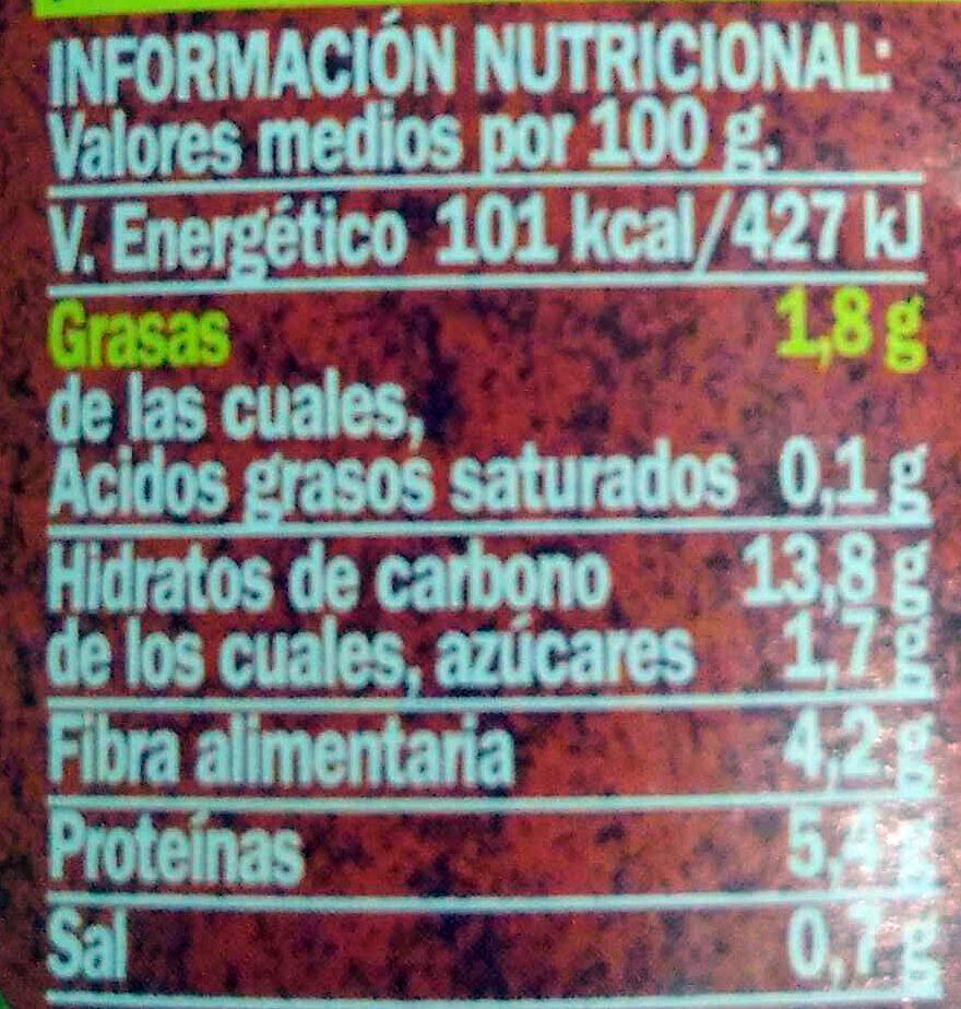 Garbanzos - Informations nutritionnelles - es
