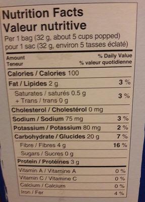 Maïs à éclater au micro-ondes arôme de beurre - Informations nutritionnelles - fr