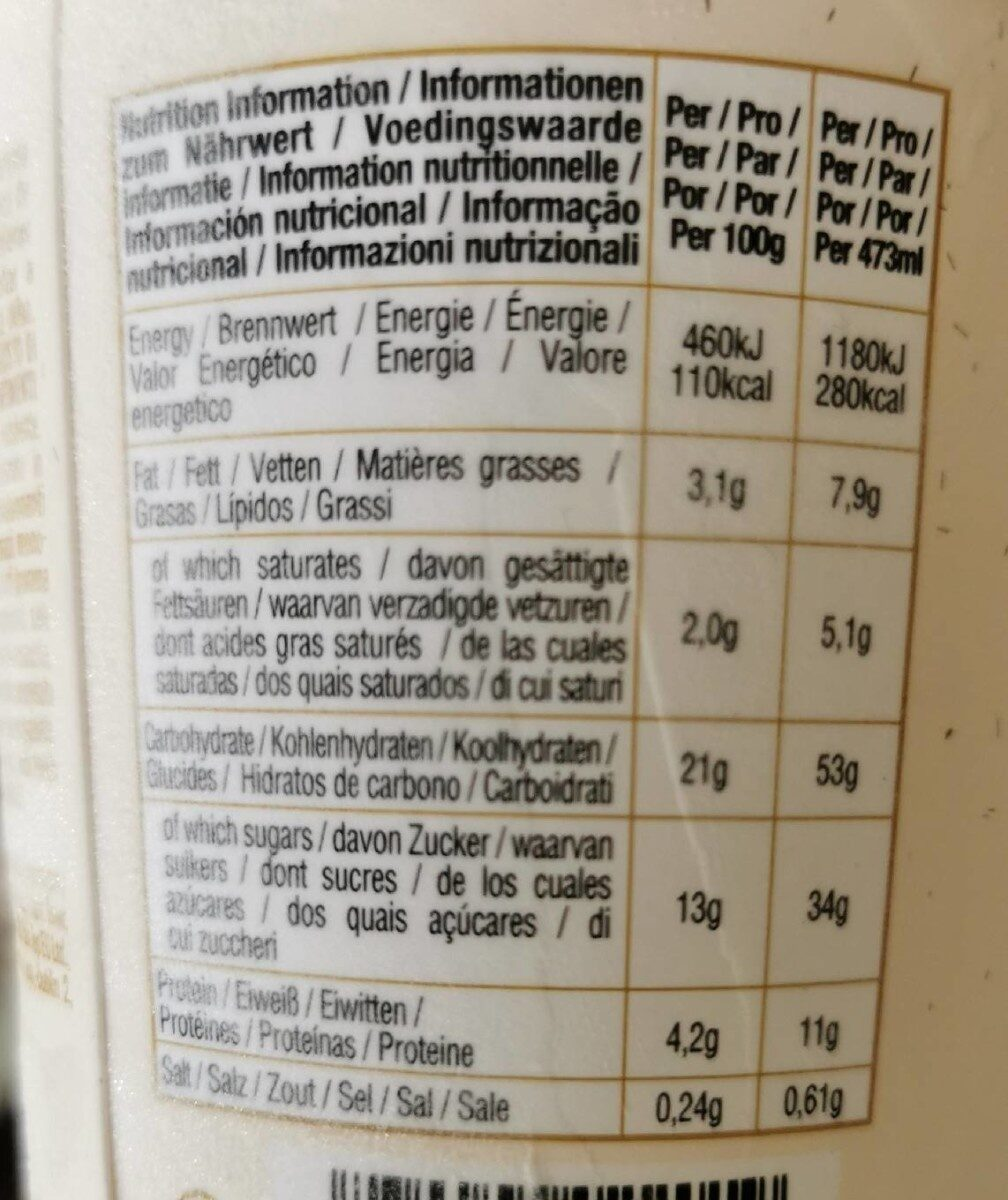Vanilla bean - Informations nutritionnelles - fr