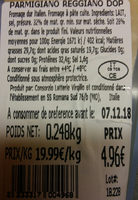 PARMESAN PARMIGIANO REGGIANO DOP - Ingredients - fr