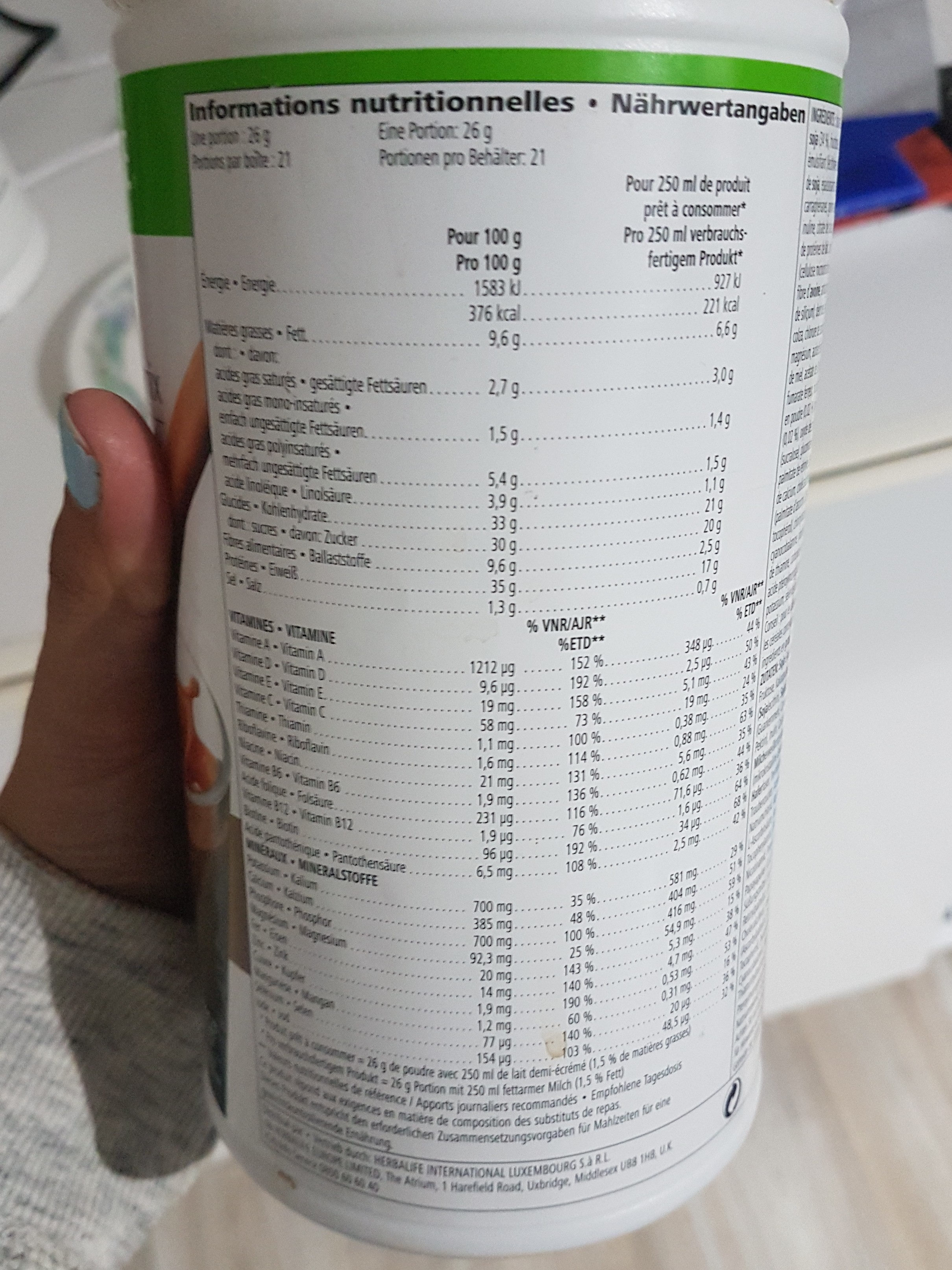 Formula 1 Ciocolat boisson nutritionnelle - Nutrition facts - fr