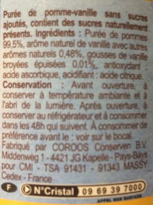 Compote pomme vanille - Ingrediënten - fr