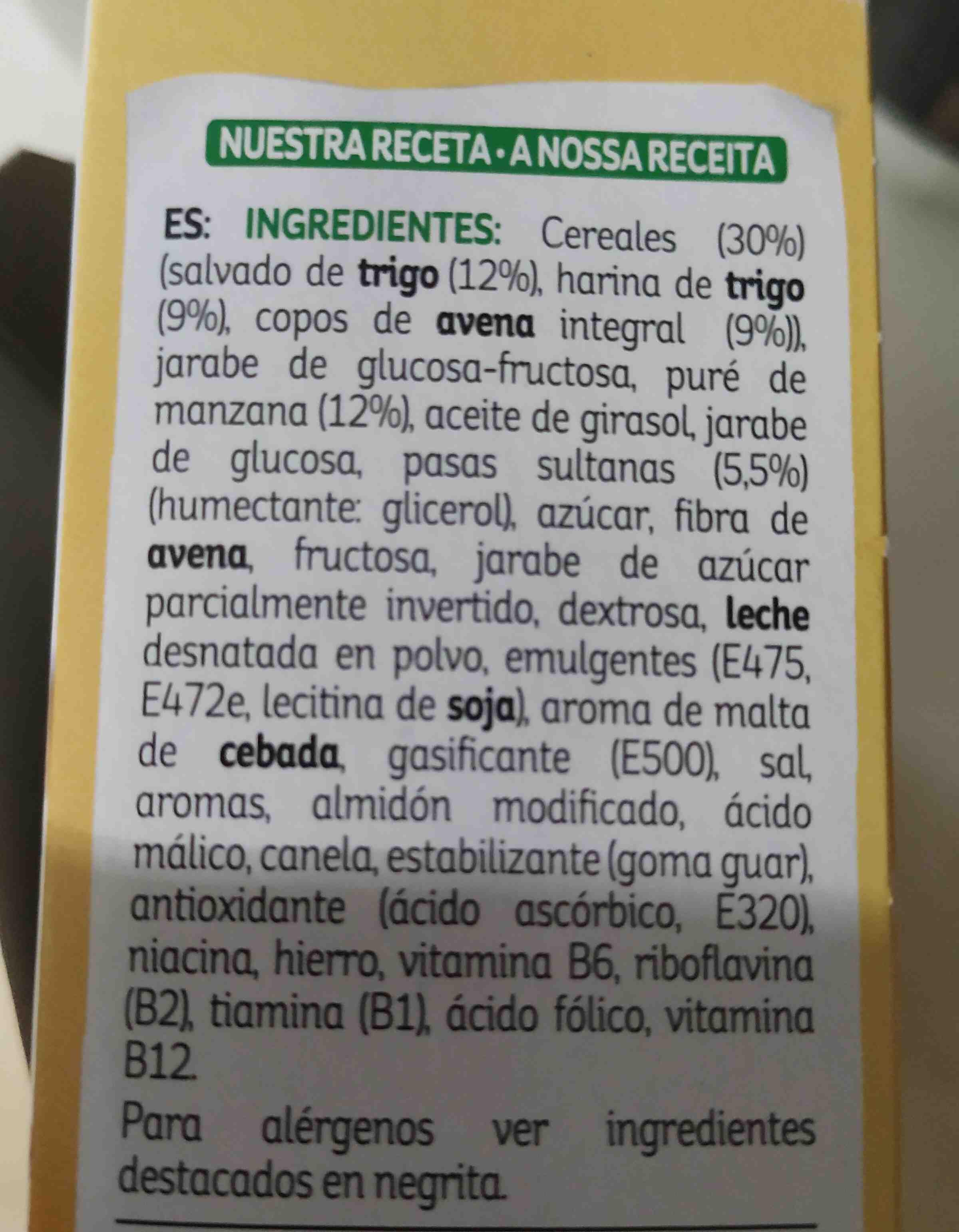 All-Bran. Bizcochito Fruta y Fibra - Ingrediënten