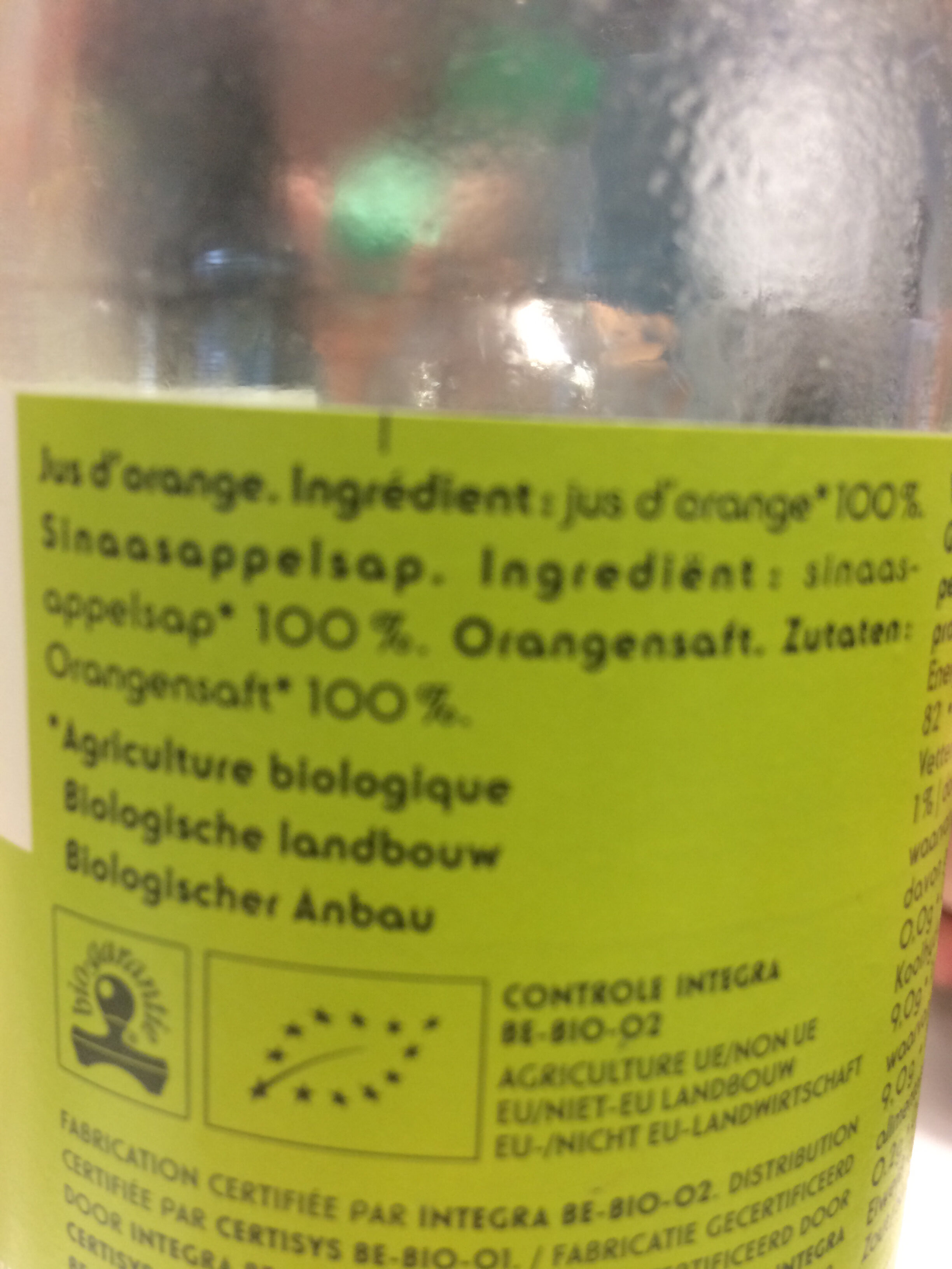 Jus d'orange bio delhaize - Ingrediënten - fr