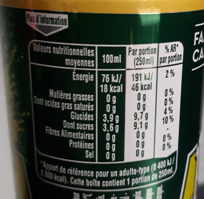 Boisson gazeuse aromatisée aux jus d'ananas et de mangue à base de concentré - Información nutricional - fr