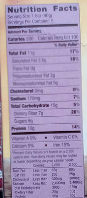 Protein chewy bars - Nutrition facts
