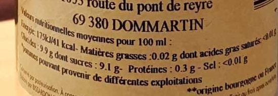 Cocktail pomme groseille - Nutrition facts - fr