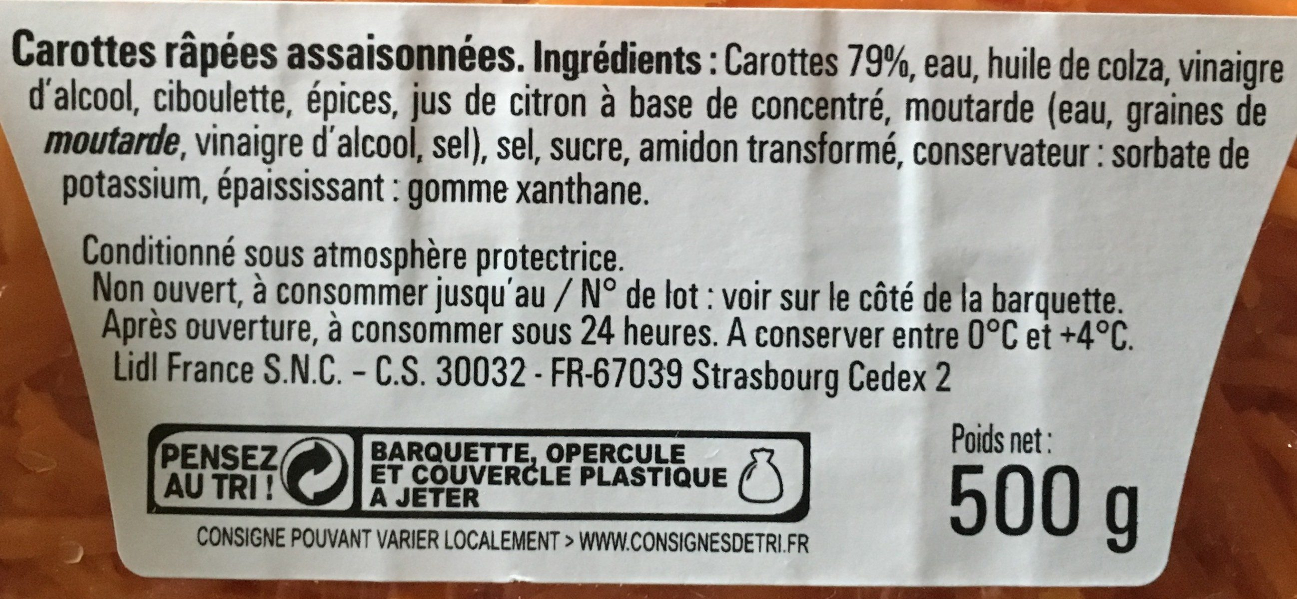 Carottes râpées à la ciboulette - Ingrediënten - fr