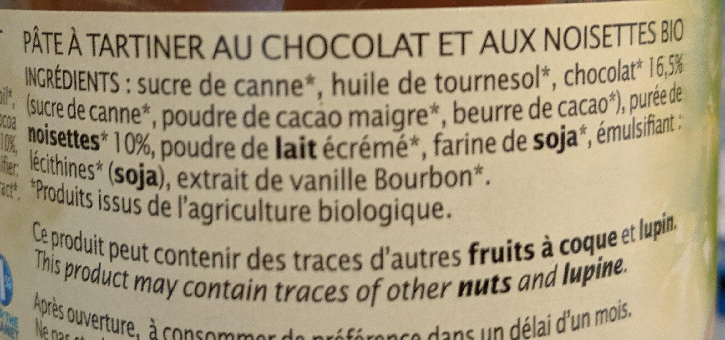Pâte à tartiner chocolat noisette - Jardin bio - Ingredients - fr
