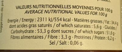 Pâte à tartiner chocolat noisette - Jardin bio - Nutrition facts - fr