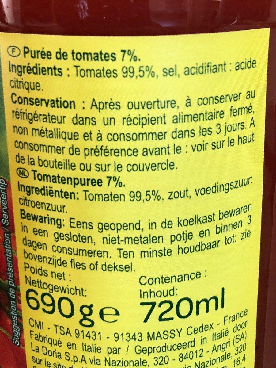 Purée de tomates - Ingredientes