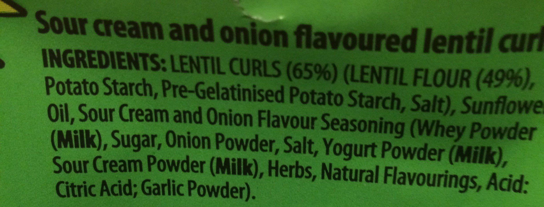 Lentils curls sour cream & onion - Ingrédients