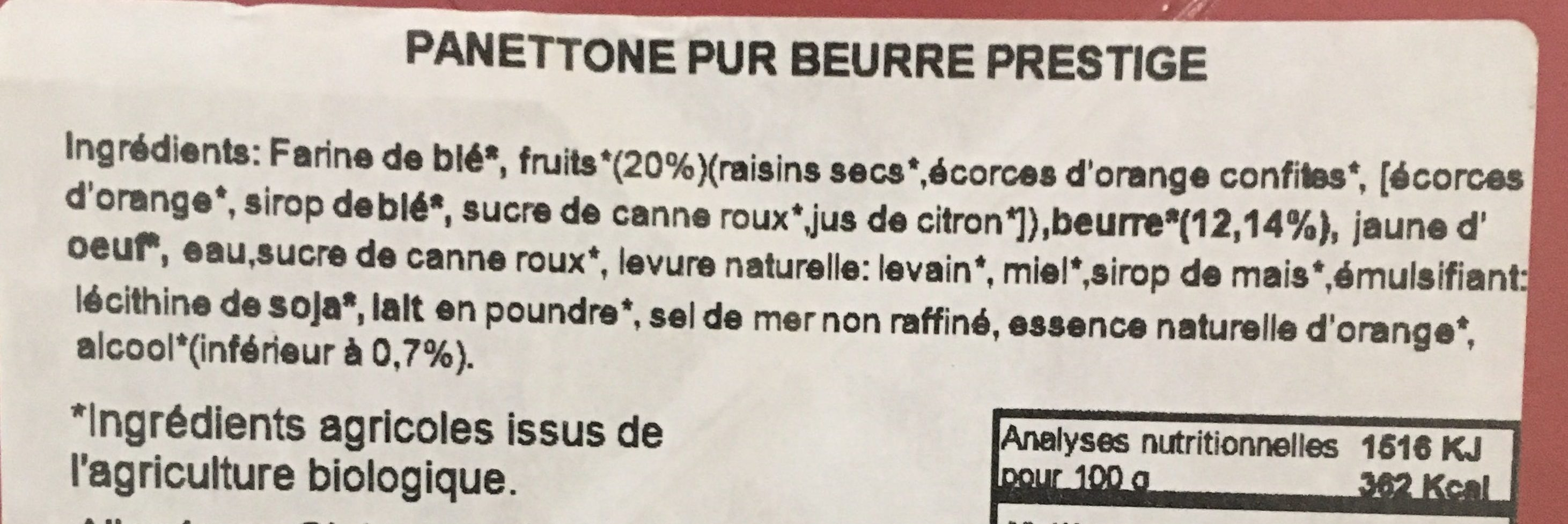 Panettone pur beurre - Ingredients - fr
