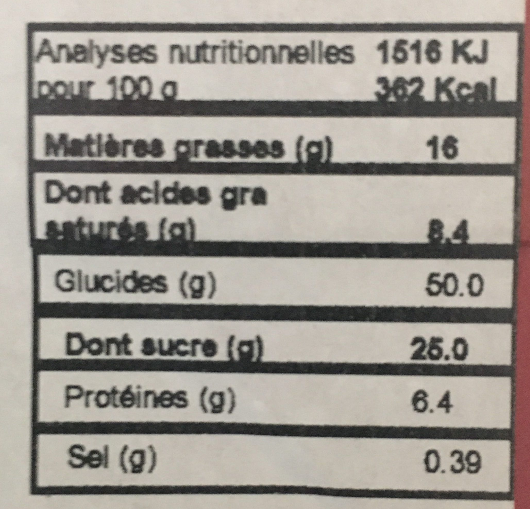 Panettone pur beurre - Nutrition facts - fr