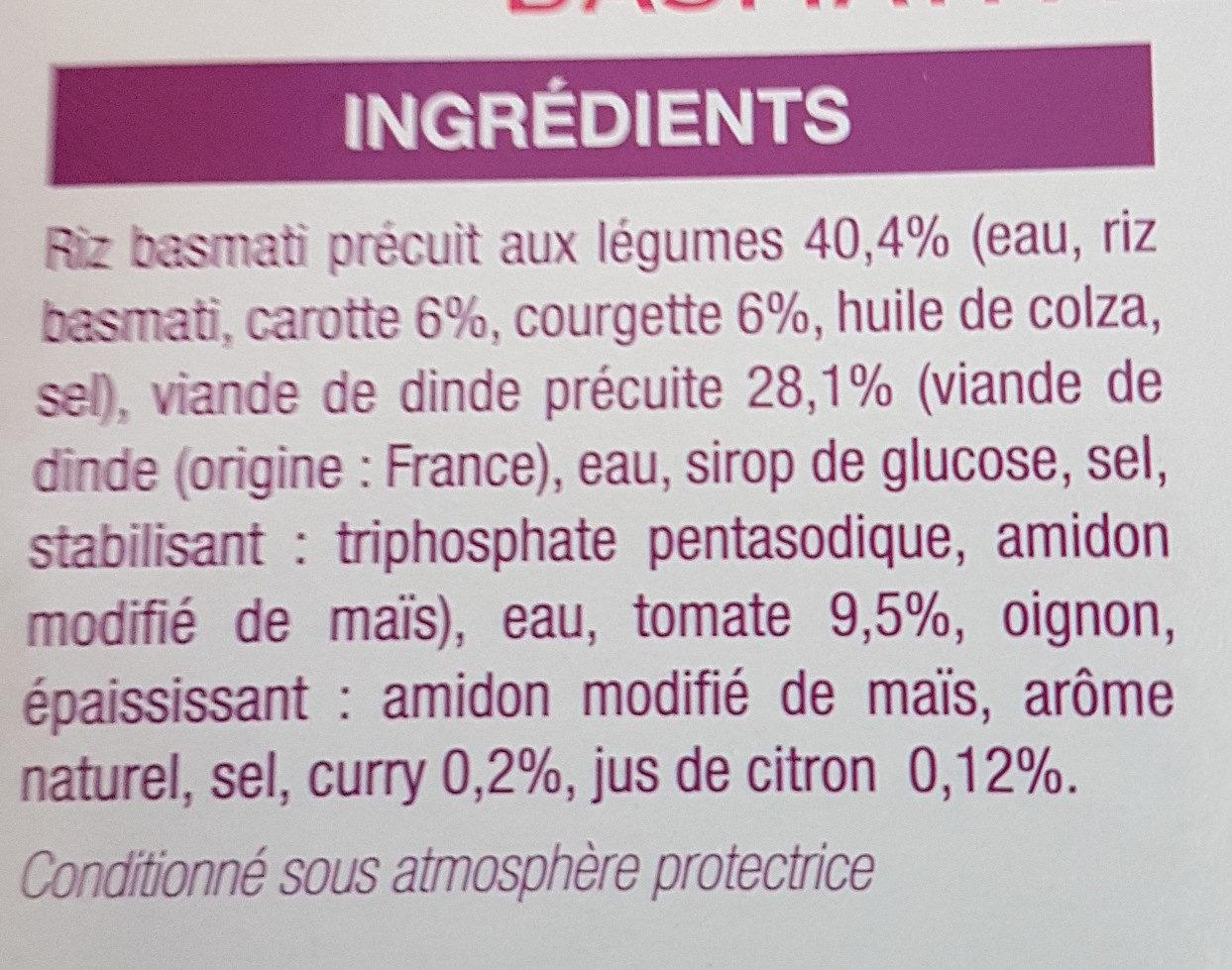 Dinde à l'Indienne et son Riz Basmati aux Légumes - Ingrédients - fr