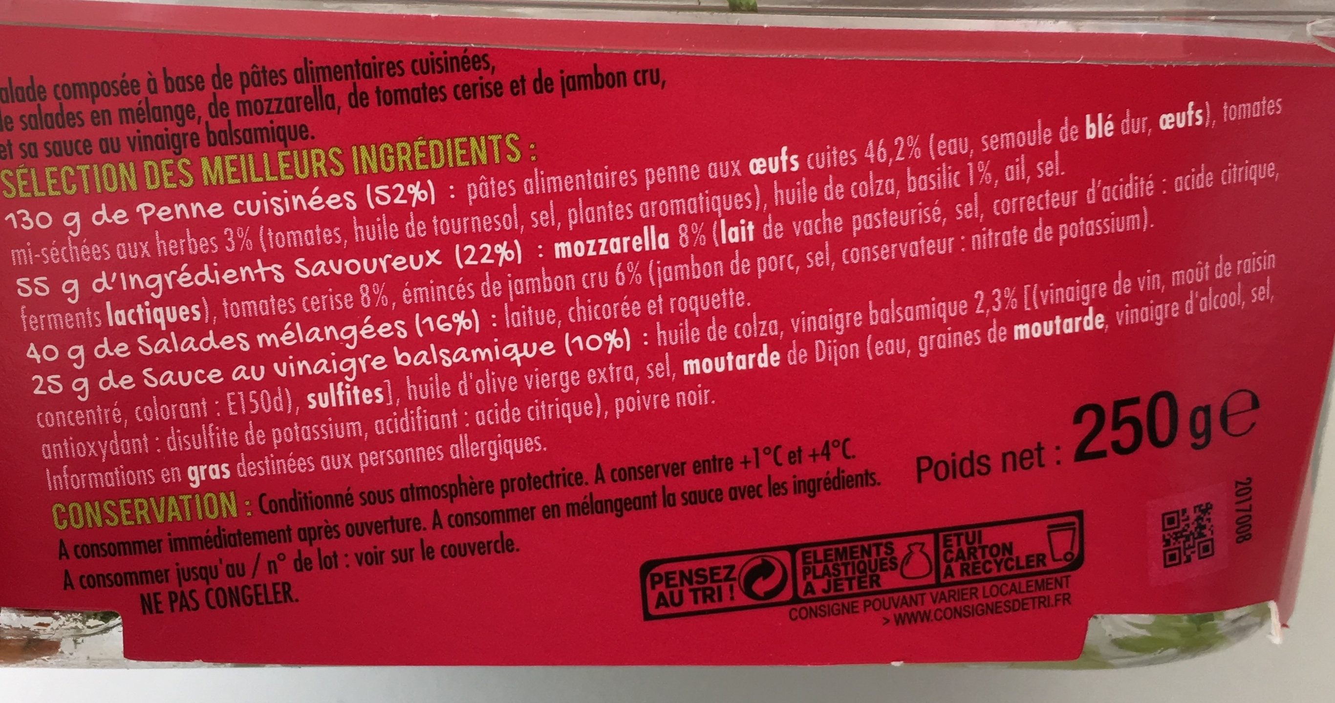 Salade penne italienne - Ingrédients - fr