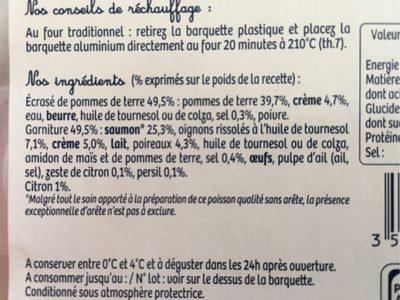 Le parmentier de Saumon - Ingrédients - fr
