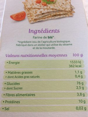 Pain Azyme au froment - Valori nutrizionali - fr