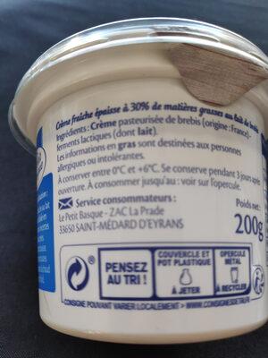 Crème fraiche au lait de brebis - Ingredients