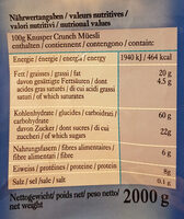 Knusper Crunch Müesli croquant - Informations nutritionnelles - fr