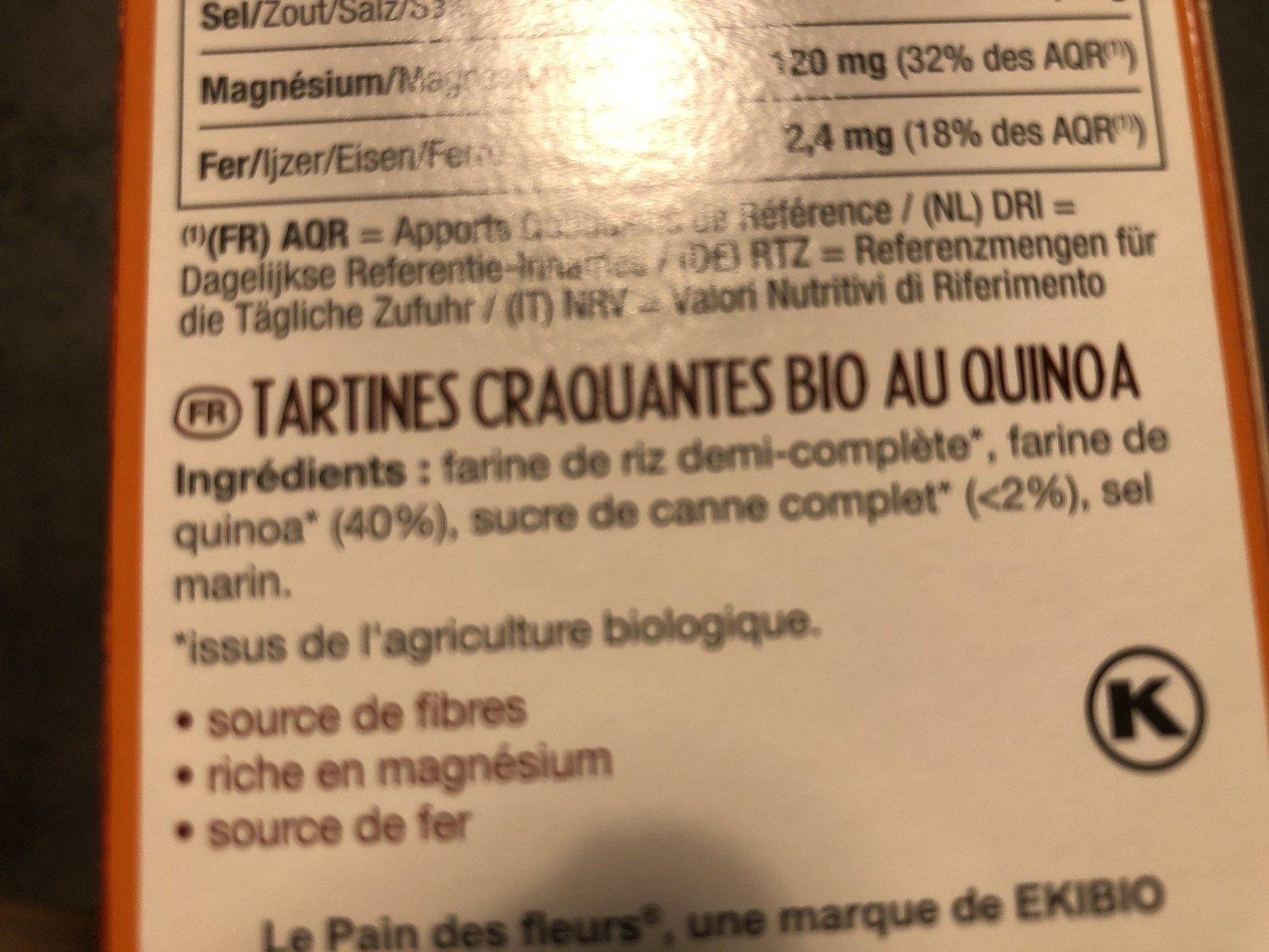 tartines craquantes riz et quinoa - Ingrediënten