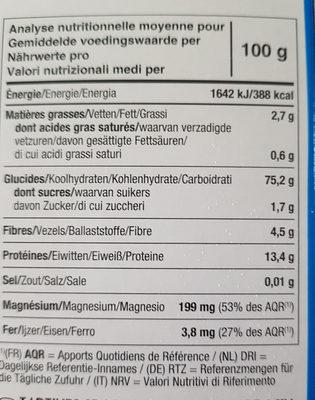 tartines craquantes riz et quinoa - Voedigswaarden