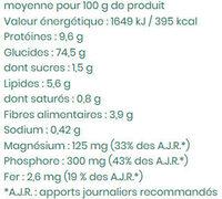 tartines craquantes riz et quinoa - Nutrition facts - fr