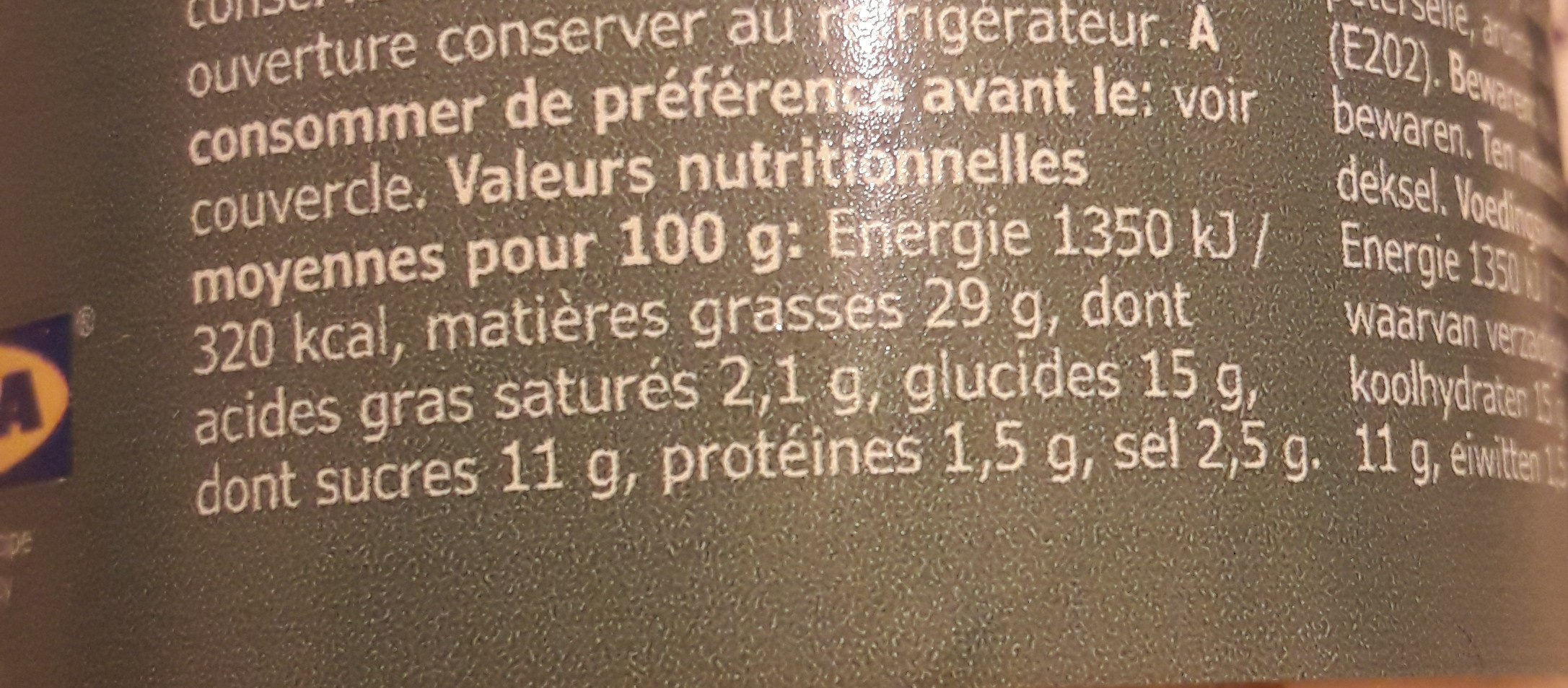 Sas Pepparrot (mierikswortelsaus) Pot - Informació nutricional - fr