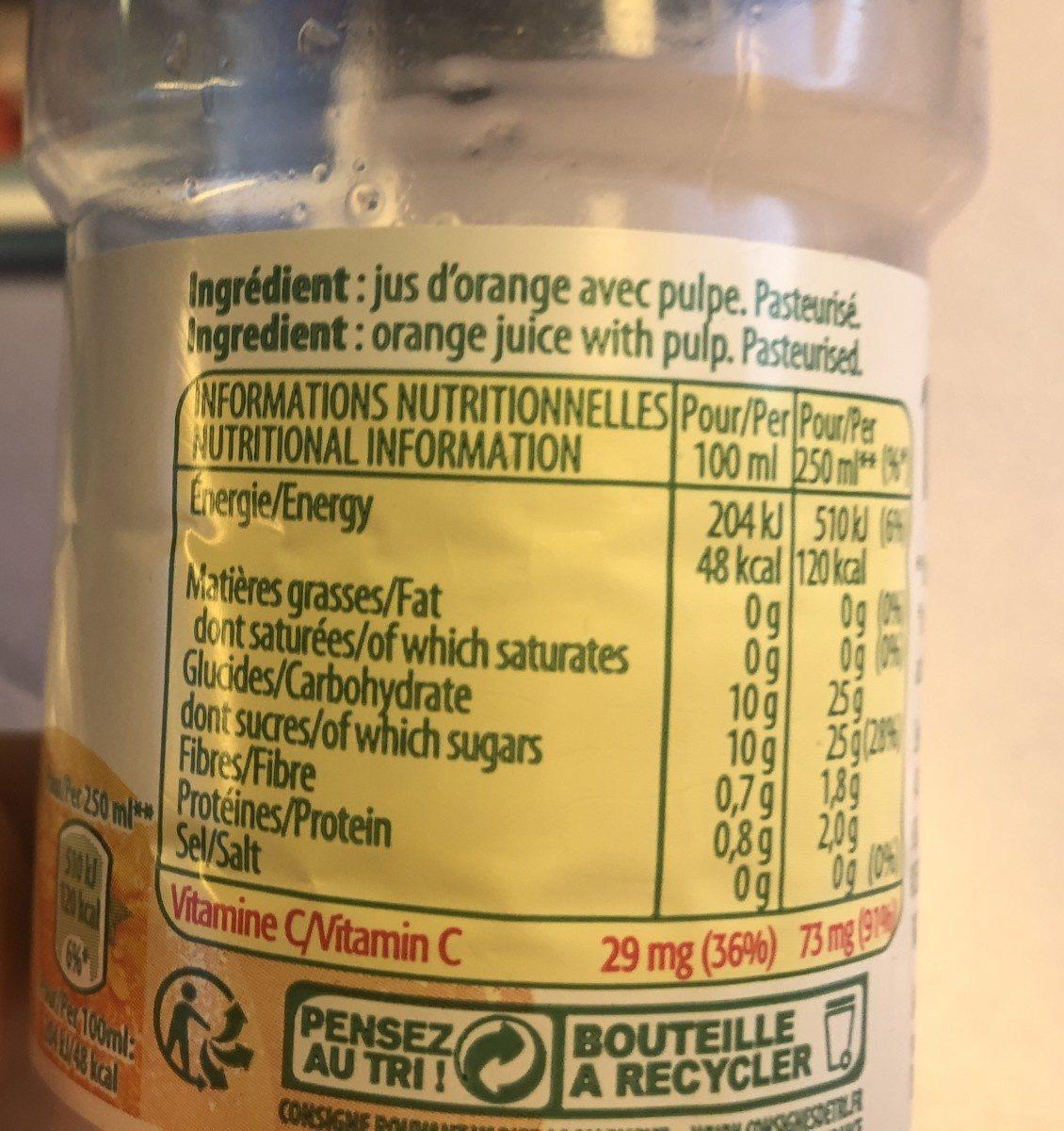 Tropicana orange without pulp - Ingrediënten