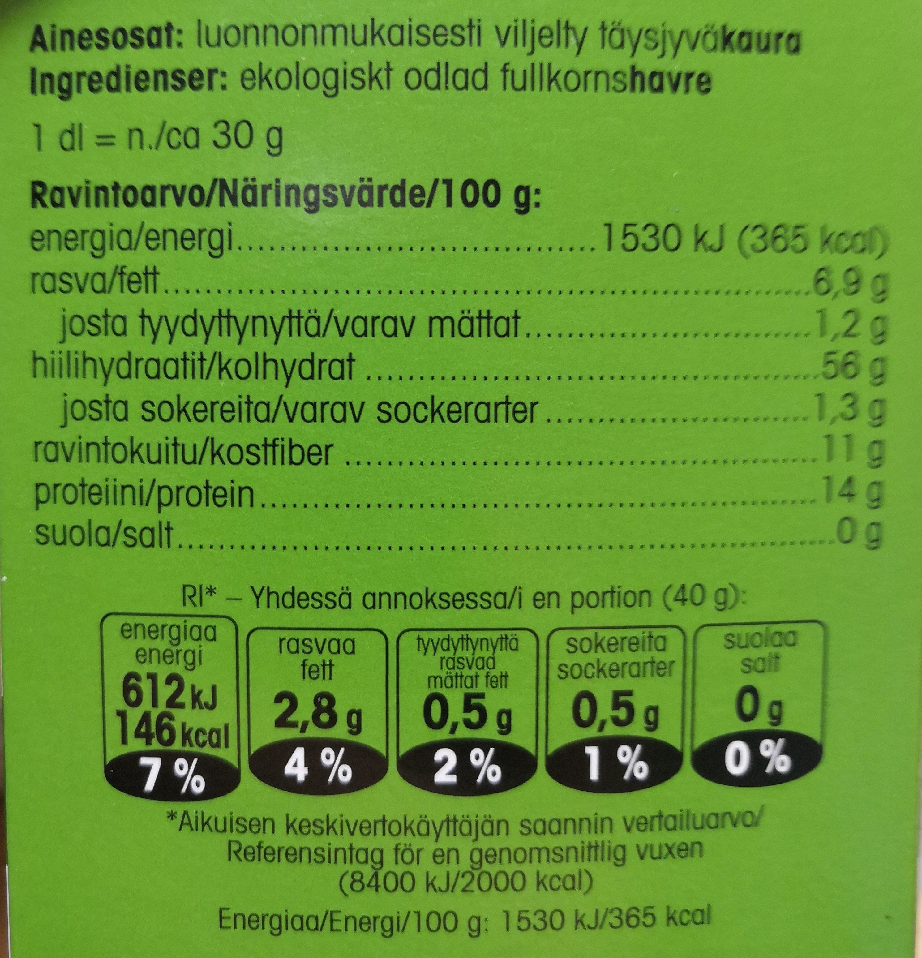 Luomu pikakaurahiutale - Nutrition facts - fi