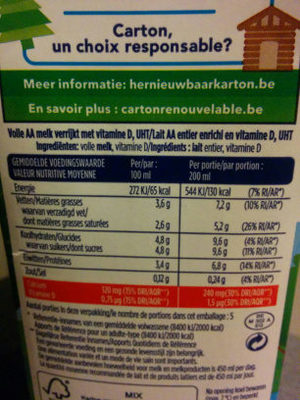 Lait AA Entier - Ingrediënten