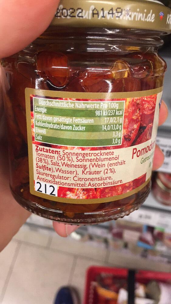Krini Tomates séchées à l'huile végétale - Nutrition facts - fr