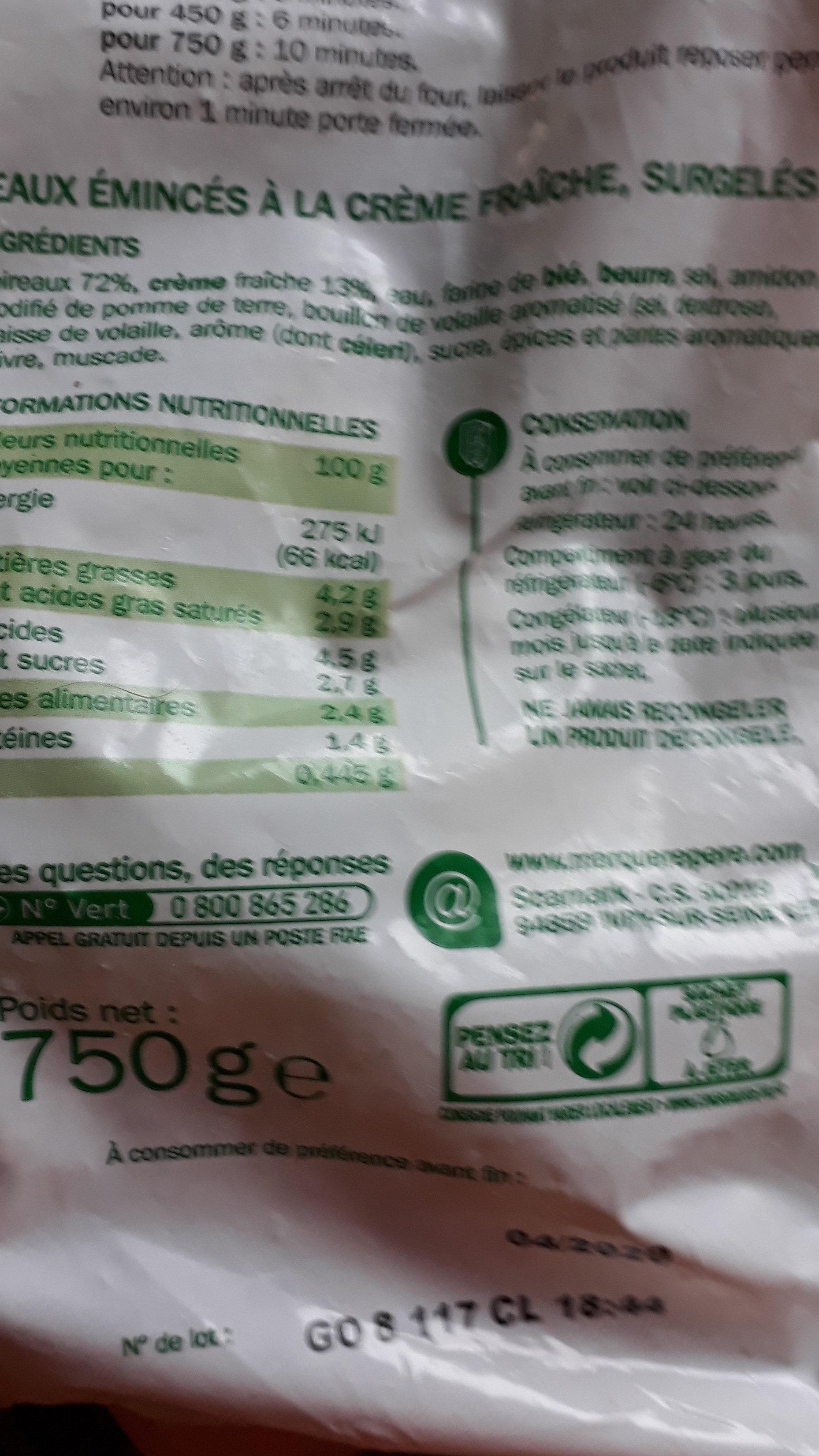 poireaux émincés à la crème  fraîche - Product